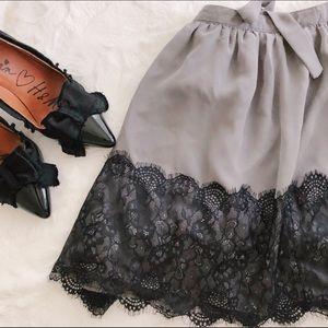 Grey Lace Skater Skirt